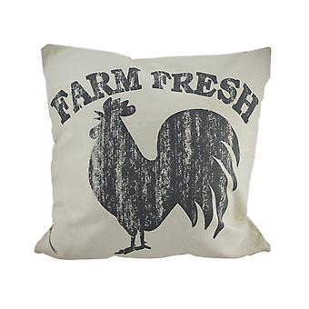 Grey and Off-White Rustic Farm Fresh Rooster Canvas Throw Pillow