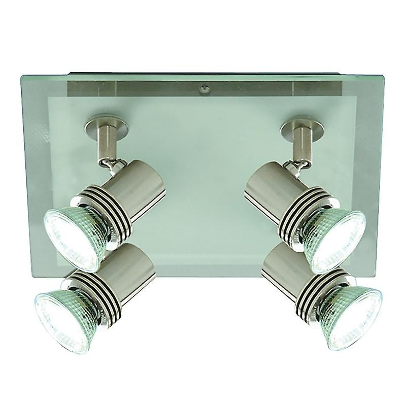 Top Hat Satin Silver 4 Light Square Ceiling Spotlight Plate - Searchlight 7844-4