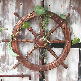 Ships Wheel - Solid Wood 78cm Nautical Garden Ornament - Burntwood