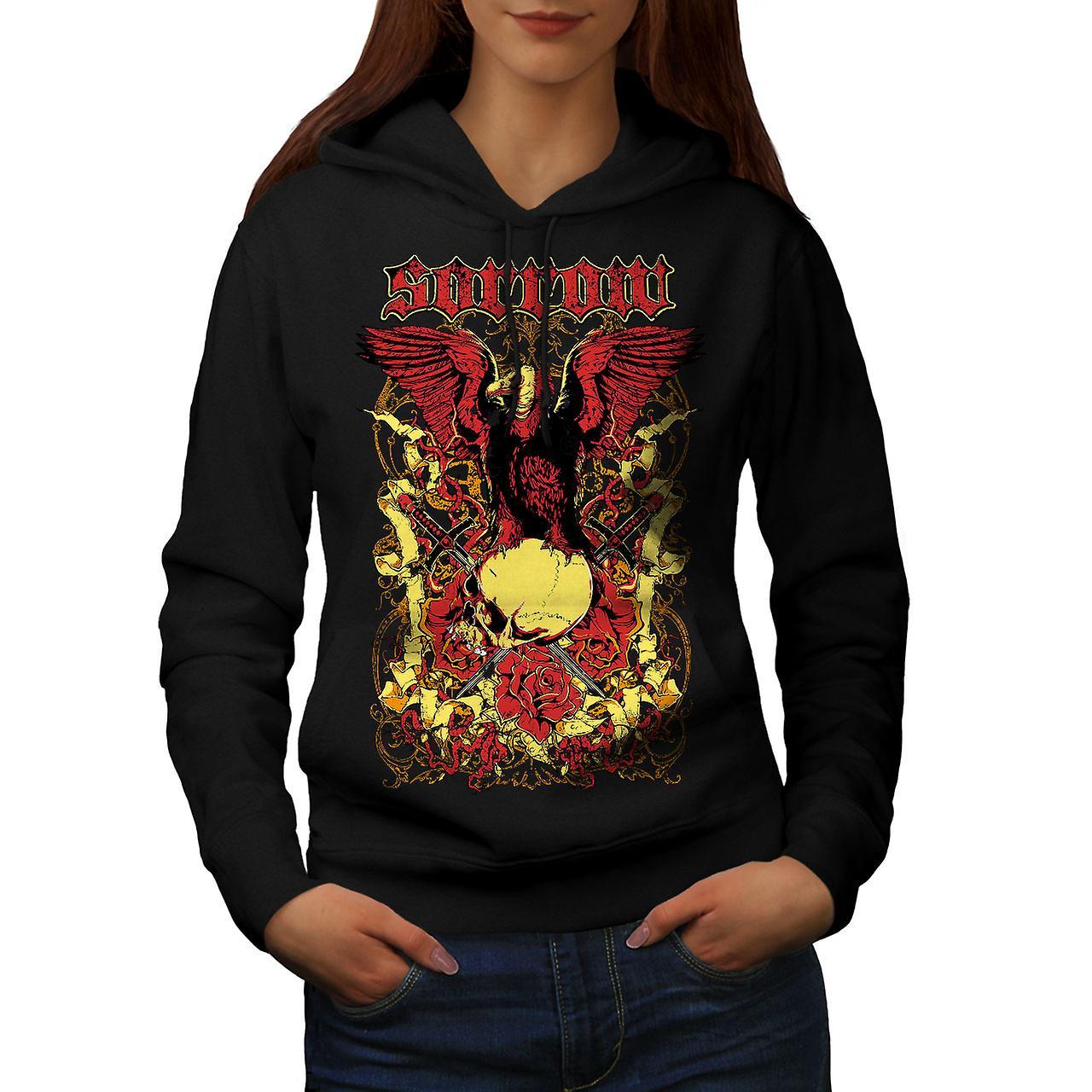 Sorrow Eagle Rose Skull Women Black Hoodie | Wellcoda