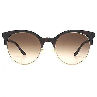 Versace Round Browline Style Sunglasses In Havana Pale Gold