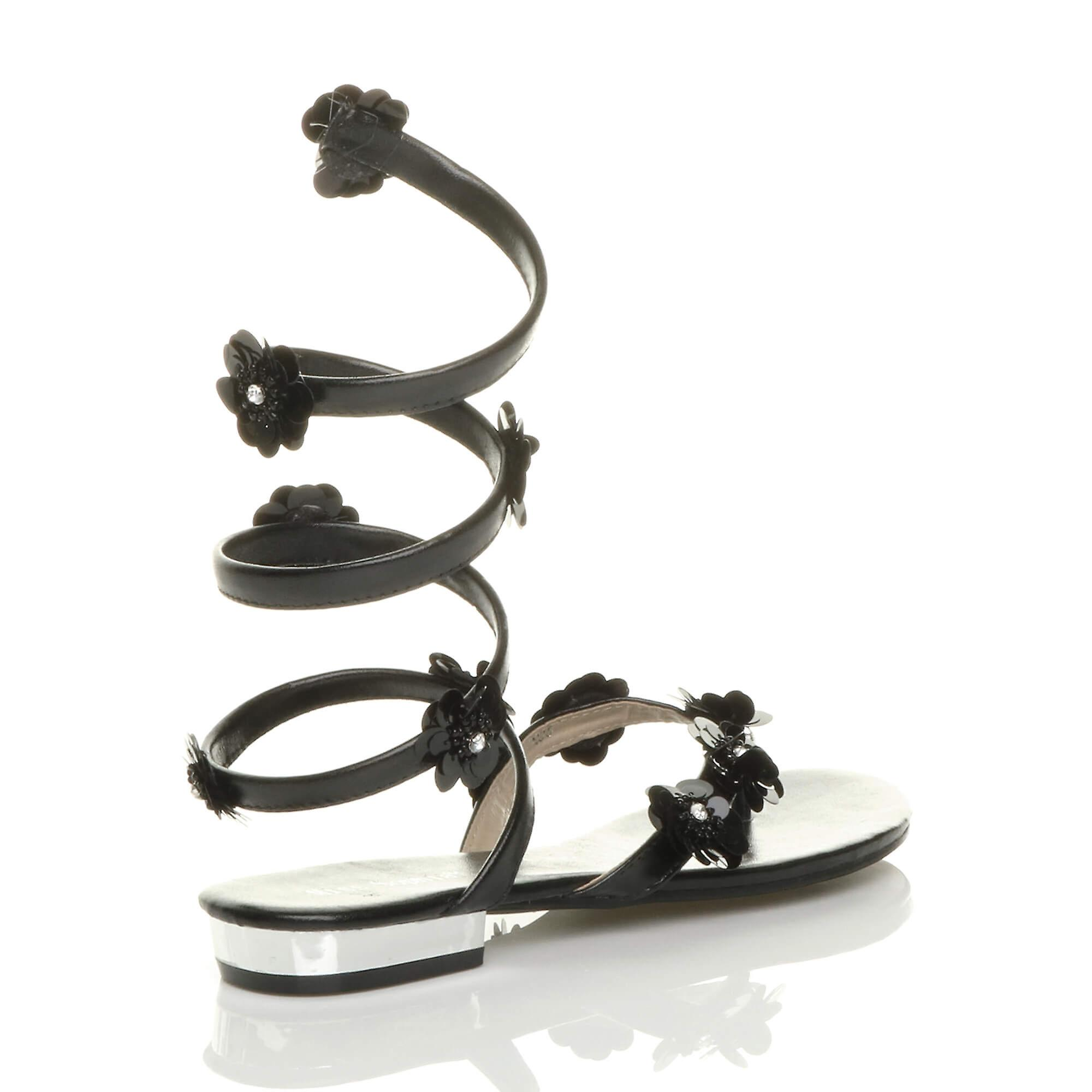Ajvani womens flat strappy flower diamante wrap around flip flops sandals