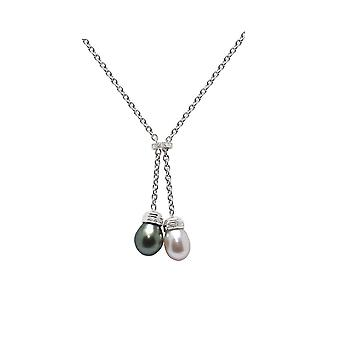 Necklace white gold massive 750/1000, diamonds and Perle de Culture white and Tahitian Pearl