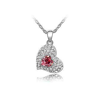 Collier Coeur battant orné de cristal rose de Swarovski