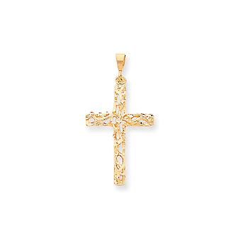 10k Yellow Gold Textured Satin Polished Antiqued Cross Pendant - 2.5 Grams