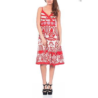 Pistachio, Ladies Sun Flower Flowing Knee Length Summer Dress, Red, One Size