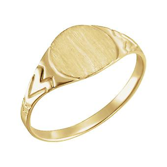 14k Yellow Gold for boys or girls Round Signet Ring 6mm - .8 Grams - size 3