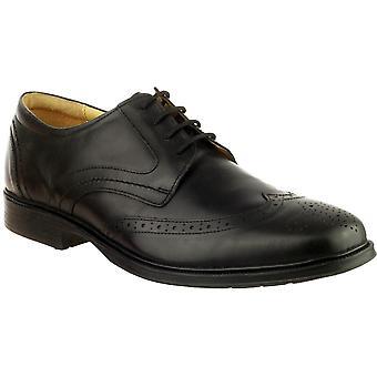 Cotswold Mens Mickleton Lace Up Premium lederen Oxford schoen zwart