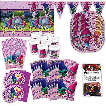 Trolls party set XL 57-teilig for 6 guests troll party birthday decoration party package