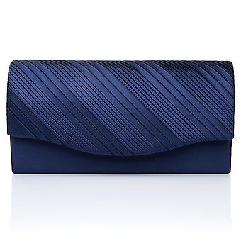 DINKY Navy Blue Satin Small Size Pleated Fold Over Clutch Bag
