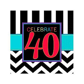 Tillykke med fødselsdagen Chevron Design 40 serviet