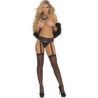 Elegant Moments EM-1714 Sheer thigh hi with lace garterbelt also in plus size