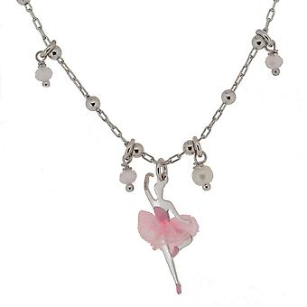 Orphelia Silver 925  Kids Necklace Pink Ballerina With Tut, Zirc & Pearl  ZK-7131