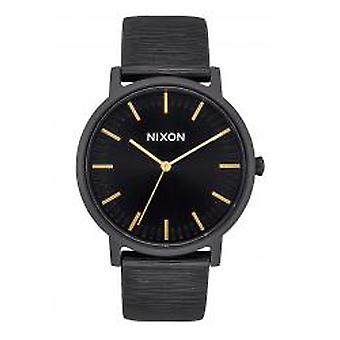 Nixon The Porter Leather All Black / Gold / White (A1058-2987)