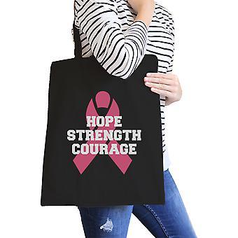 Håpe styrke mot svart grafisk lerret Tote kreft støtte gave