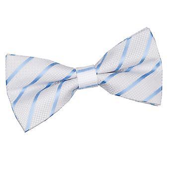 Wit & Baby Blue Single Stripe vooraf gebonden strikje