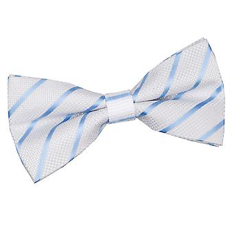 White & Baby Blue Single Stripe Pre-Tied Bow Tie