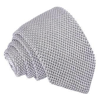 Silber gestrickte schmale Krawatte