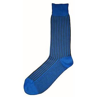 Bassin and Brown Vertical Stripe Midcalf Socks - Blue/Grey