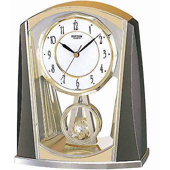 الجدول ساعة الكوارتز الرمادي/الذهب إيقاع مع البندول البطيء 21 × 18 سم
