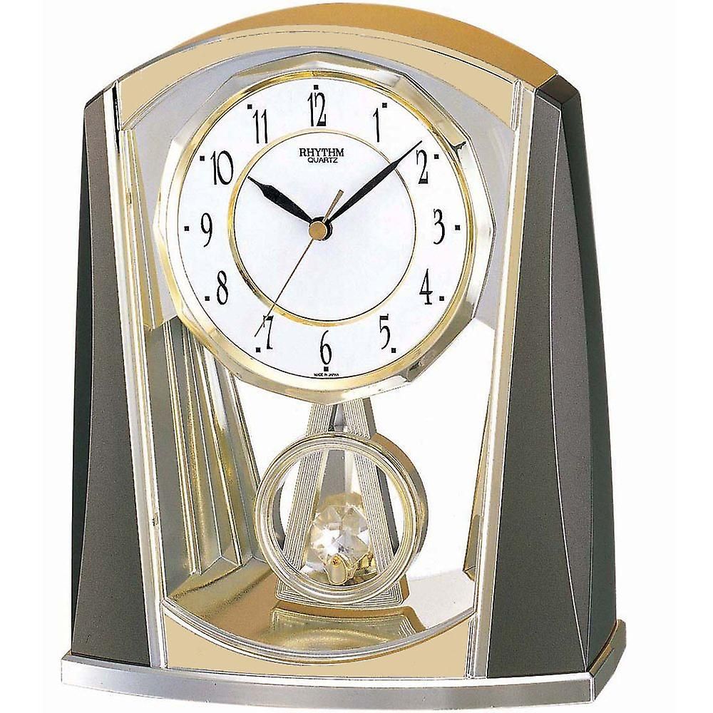 Horloge quartz gris or rythme ralenti pendule de table 21 x 18 cm