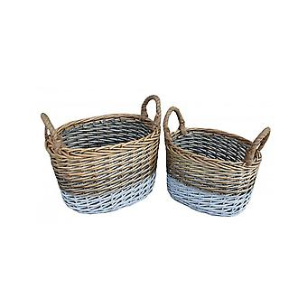Set of 2 Oval Triple Tone Chunky Wicker Storage Basket
