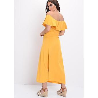 Frilled Bardot Button Through A Line Maxi Dress Yellow