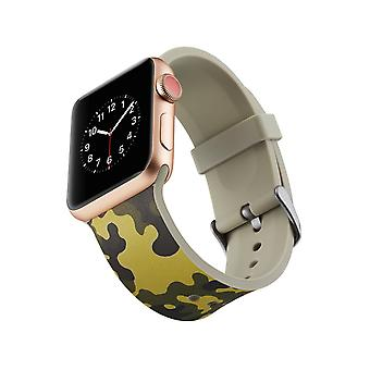 Siliconen klockrem voor Apple Watch 4 3/2/1-44 mm, 42 mm-Army Green Camouflage