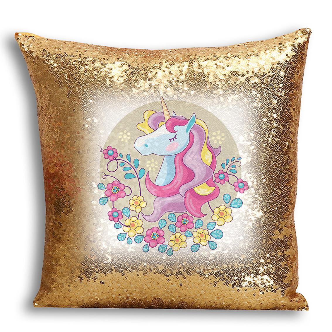 Decor With Sequin Home Cover Inserted Printed 5 For I Design tronixsUnicorn Gold CushionPillow rCBdxoe