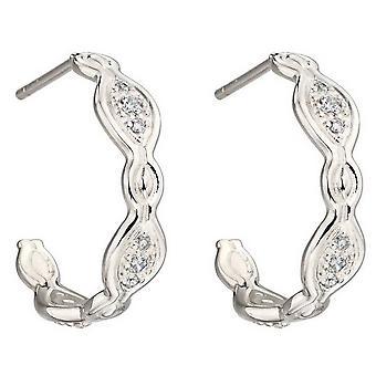 Elements Silver Pave Hoop Earrings - Silver
