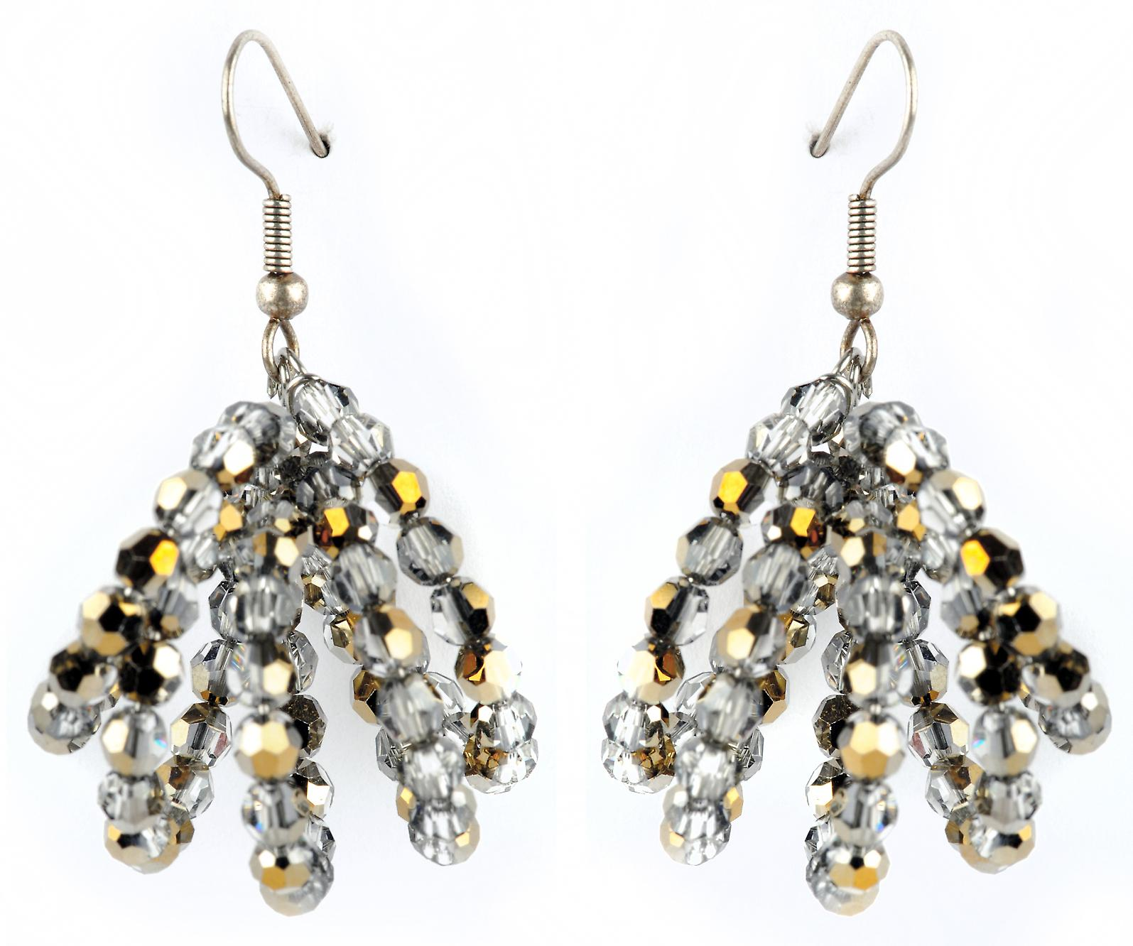 Waooh - jewelry - WJ0755 - earrings with Rhinestone Swarovski silver Chrome Iridium - mount silver