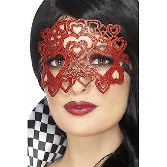 Soft Felt Glitter Eyemask, Red