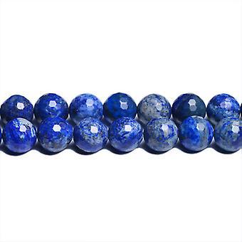 Тросик 38 + синий деним лазурит 10 мм, окрашенная граненые бусины CB31095-4 раунд