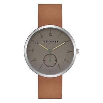 Ted Baker Josh szary Dial brązowe skórzane męskie zegarek TE50011008