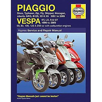 Piaggio and Vespa Scooters (with Carburettor Engines) Service and Repair Manual: 1991 to 2009