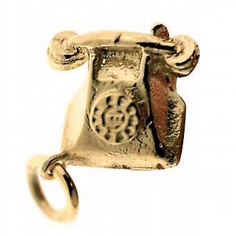 9ct Gold 12x13mm solido telefono ciondolo o fascino