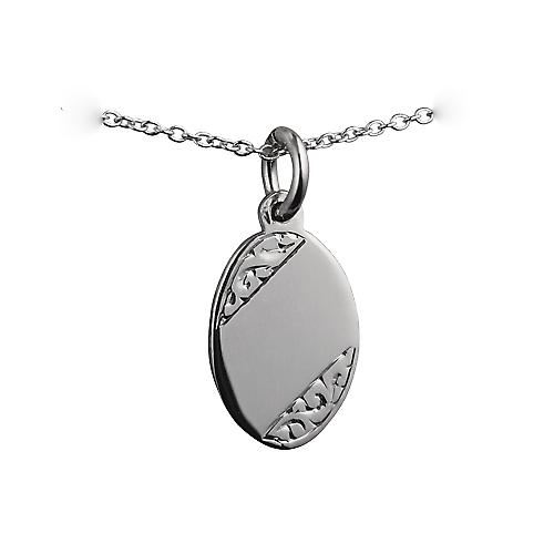 Silver 16x11mm hand engraved oval Disc with a rolo chain