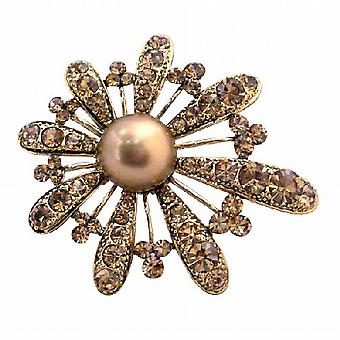 Bronze Smoked Topaz Encrusted Adorable Gold Fan Flower Petals Brooch