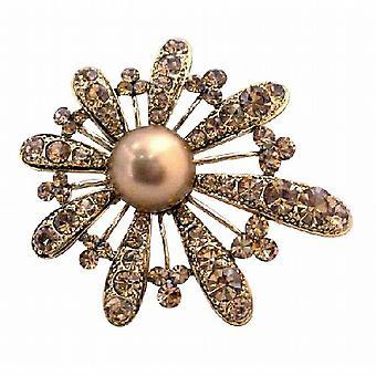 Bronze geräuchert Topaz verkrustete liebenswert Gold Fan Blütenblätter Blumenbrosche