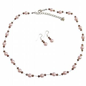 Perles rose & cristaux Topaz fumé accentués invisibles Collier Set