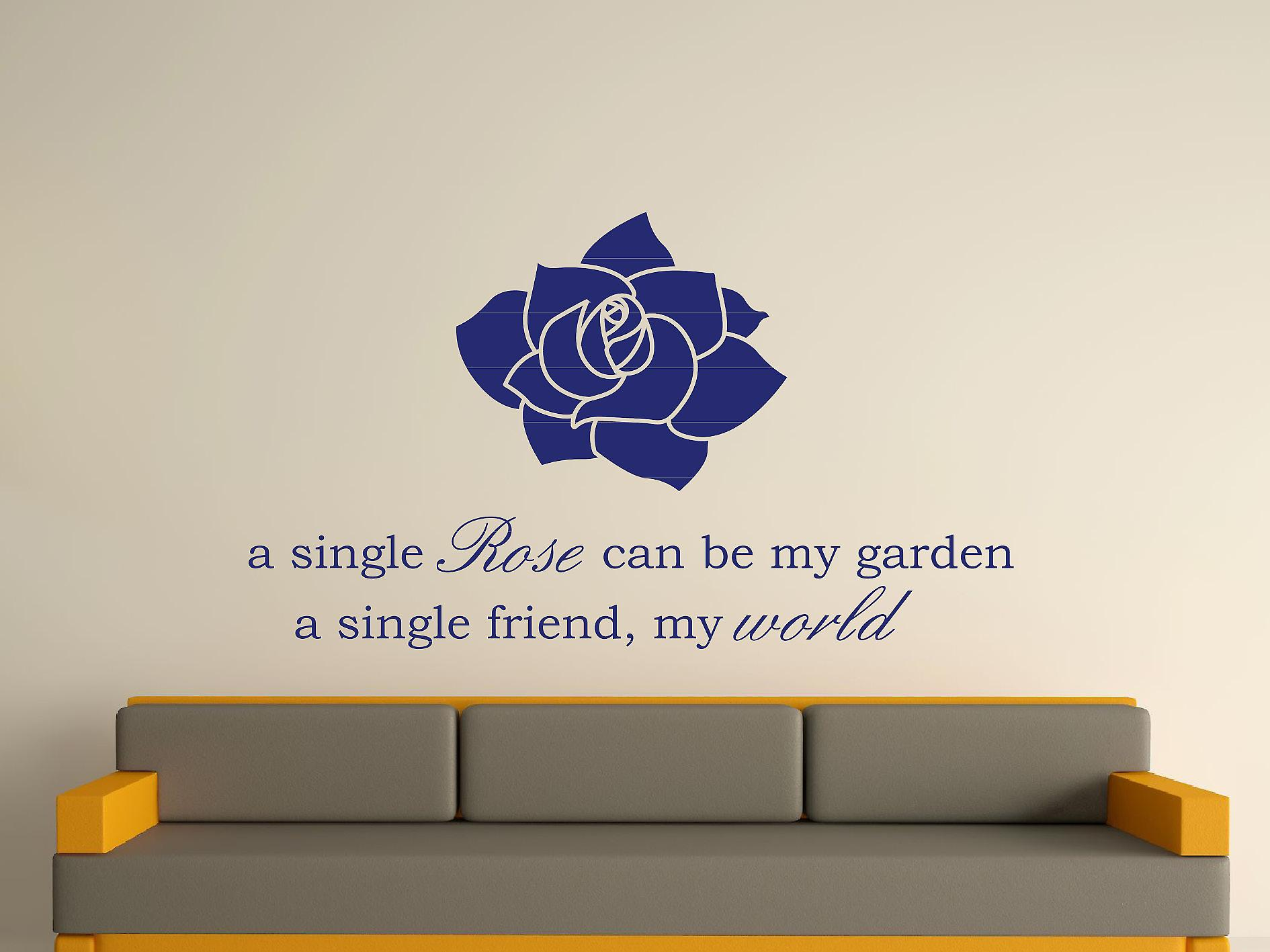 A Single Rose Wall Art Sticker - Ultra Blue