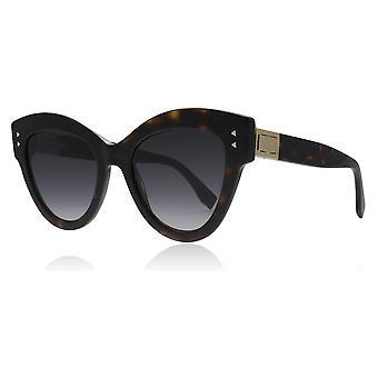 Fendi FF0266/S 086 Dark Havana FF0266/S Cats Eyes Sunglasses Lens Category 3 Size 52mm