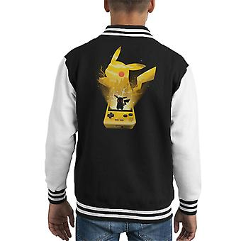Geel Pokemon Pikachu silhouet Kid's Varsity Jacket