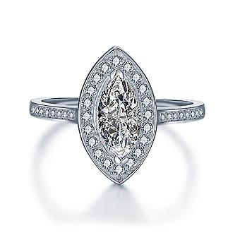 925 Sterling Silver Marquise Cut Pave Vintage Cocktail Ring