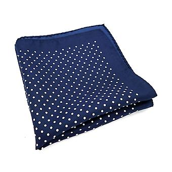 Navy blue & white polka large 33cm hanky pocket square