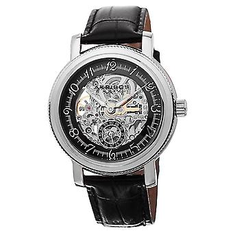 Akribos XXIV Men's Automatic Movement Skeleton Dial Leather Strap Watch AK634SSB