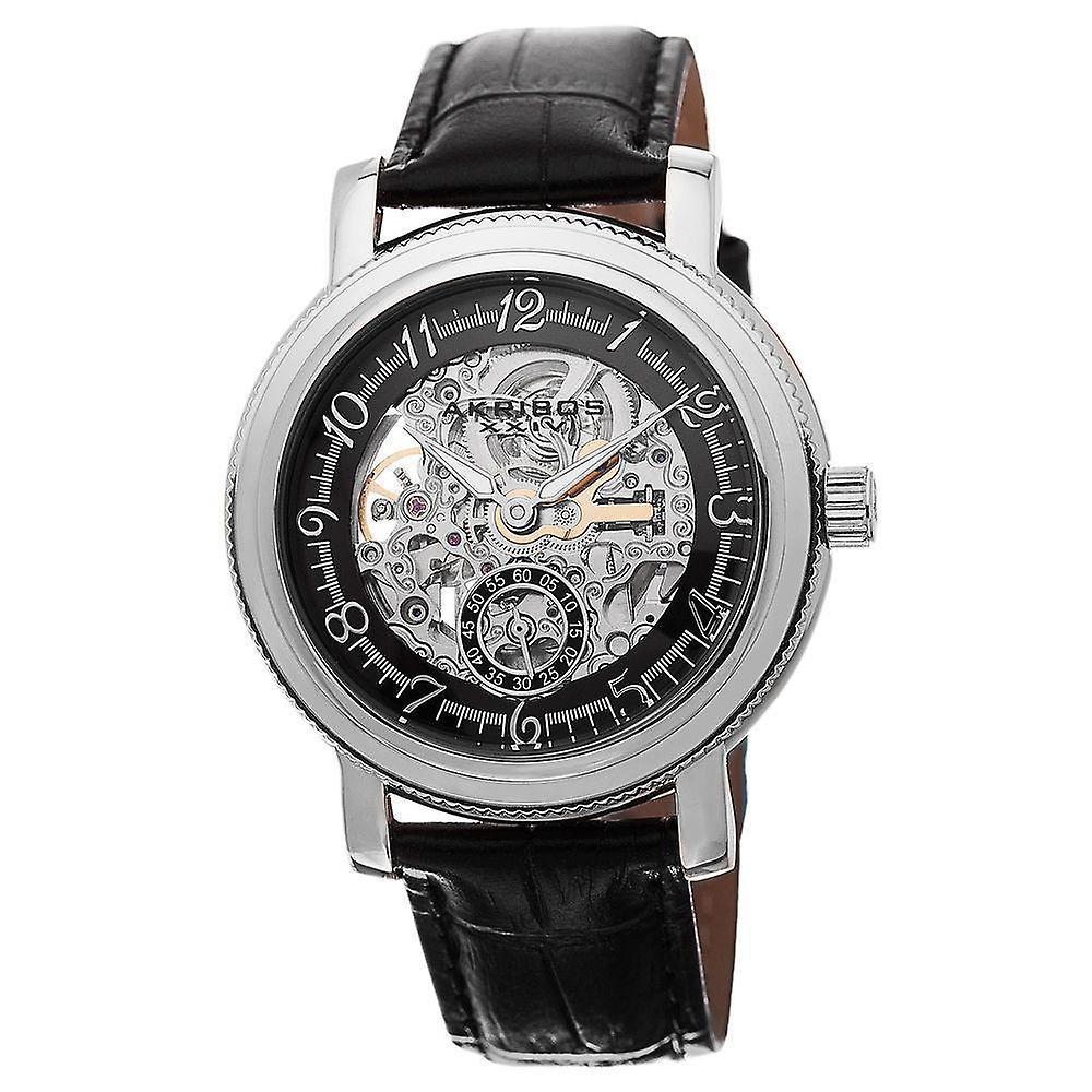Akribos XXIV Men's Automatic Movement Skeleton Dial Leather Strap Watch AK634SSB