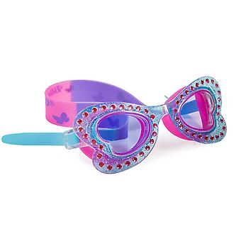 Girls blue butterfly shaped fun swimming goggles