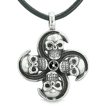 Supernatural Skull Powers Magic All Forces of Nature Amulet Jet Black Crystal Pendant Leather Necklace