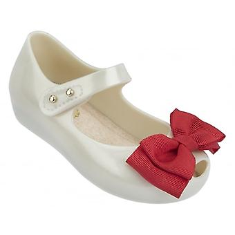 Melissa Shoes Mini Ultragirl Ribbon 15 Shoe,  Pearl Contrast